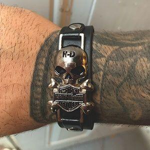 🏍 ☠️HARLEY DAVIDSON silver skull logo leather adjustable buckle bracelet 🏍 ☠️